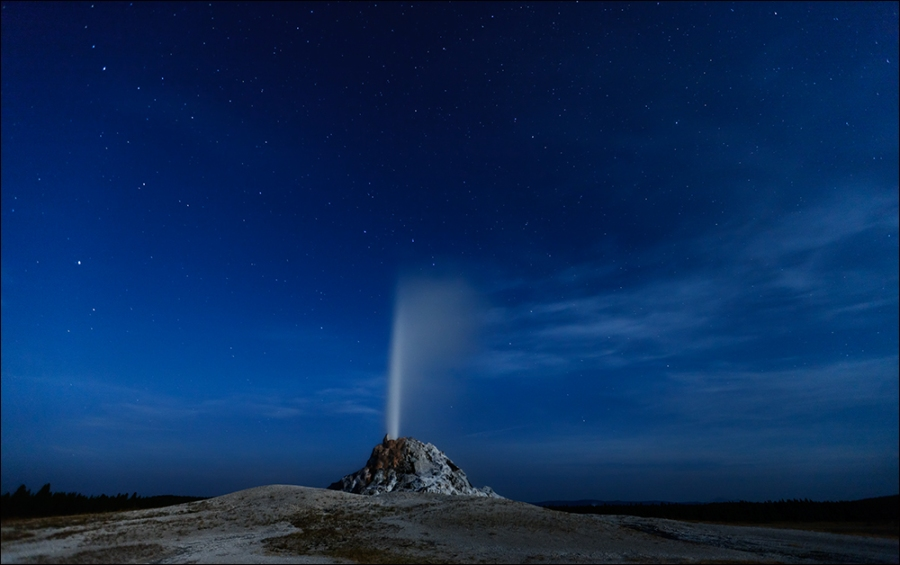 Night Eruption, White Cone Geyser